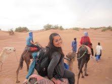 Negina and fellow students on camelback in Morocco
