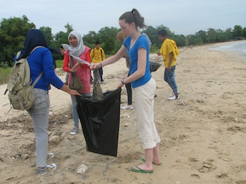 Team cleanup on beach in Indonesia